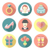 Set of wedding flat icons — Stock Vector