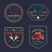 Retro set of farm fresh logotypes — Stock Vector