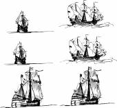 Set of sailing ships in the sea — Stock Vector