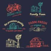 Retro set of farm fresh logotypes — Stock Vector