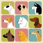 Set of different dogs icons — Stock Vector