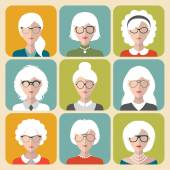Set of different old man and woman — Stock Vector