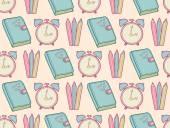 Cute school seamless pattern — Stock Vector