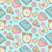 Cute morning seamless pattern — Vettoriale Stock