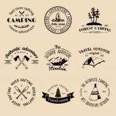 Set of vintage camping logo — Stock Vector