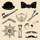 Set of sketched hipster vintage elements — Stock Vector