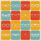 Set of icons of different shapes sunglasses — Stock Vector