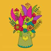 Beautiful bouquet of colored flowers in vase — Stockvektor