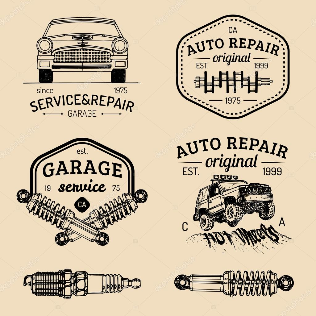 set of vintage garage logo � stock vector 169 vladayoung