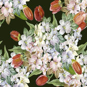 Bouquet of branches of apple blossom and tulips seamless pattern — Stock Photo