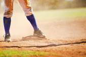 Baseball player on the base — Foto Stock
