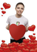 Girl with heart valentines day — Stock Photo