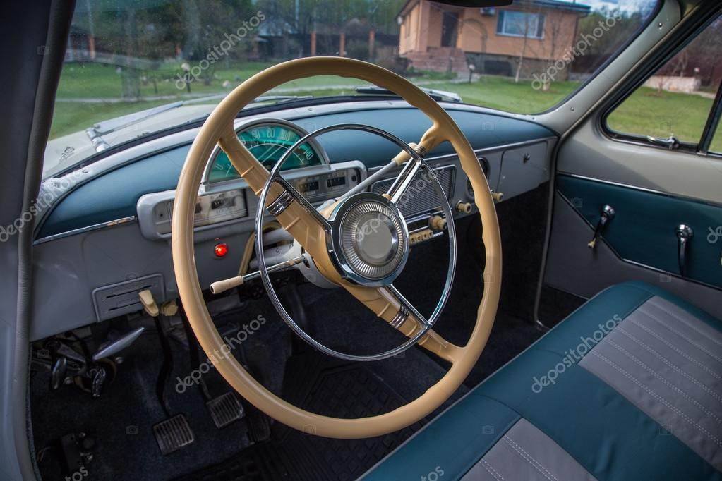 vintage car interior gaz m21 volga stock photo 73002595. Black Bedroom Furniture Sets. Home Design Ideas