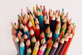 A display of colored pencils — Zdjęcie stockowe
