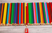 Display of colored pencils — Stock Photo