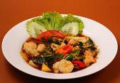 Seafood stir fry — 图库照片
