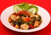 Seafood stir fry — Stock Photo