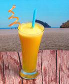 Pineapple juice in glass — Stock Photo