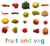 Isolated group of fruit and vegables — Stock Photo