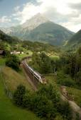 Gotthard Railway amongst hilly Landscape — Stock Photo
