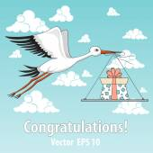 Vector illustration with stork and present — Vettoriale Stock
