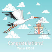 Vector illustration with stork and present — Stock vektor
