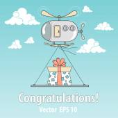 Vector illustration with helicopter and present — Vector de stock