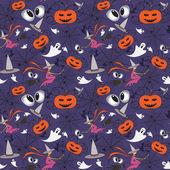 Modello vettoriale con simboli dei cartoni animati di halloween — Vettoriale Stock