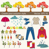 Vector set of autumn symbols for use in design — Stock Vector