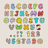 Stylized colorful alphabet and numbers in vector — Stock Vector
