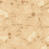 Vector pattern with newborn baby symbols — Stockvector