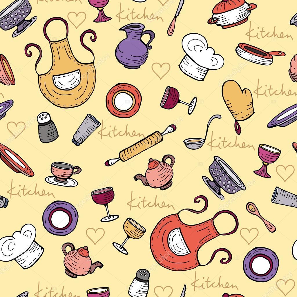 Patr n de vector con utensilios de cocina de la historieta for Utensilios de cocina fondo