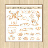 Vector set of icons with bakery products — Stock Vector