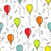 Wektor wzór z kolorowych balonów i konfetti — Wektor stockowy