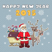 Vector illustration with Santa Claus and reindeer — Stock Vector