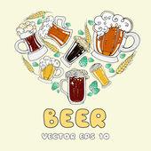 Vector stylized heart with cartoon beer mugs — Stock Vector
