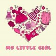 Vector stylized heart with clothes for little girl — Stock Vector #57831897