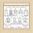 Vector set of hand drawn clothes for little girls — Stock Vector #57831905