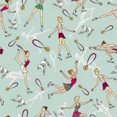 Vector pattern with cartoon skaters in motion — Stock vektor