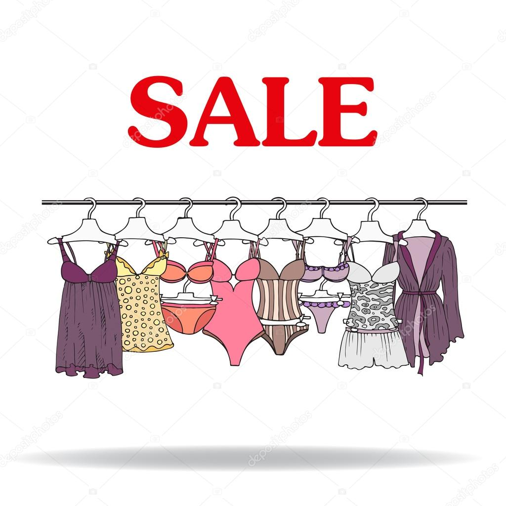 Cute hand drawn illustration with sale of lingerie stock for Photographs for sale online