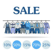 Vector illustration with sale of clothes for boys — ストックベクタ