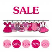 Vector illustration with sale of clothes for girls — Stock Vector