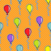 Vector seamless pattern with hand drawn balloons — ストックベクタ