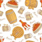 Vector pattern with beer mugs, barrels and crayfish — Stock Vector