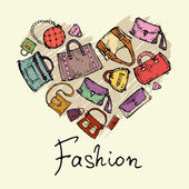 Vector stylized heart with hand drawn handbags — ストックベクタ