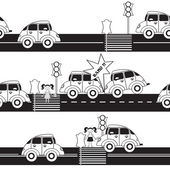 Vector pattern with cars and traffic on white background — Vetor de Stock