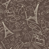 Vector pattern with symbols of France on brown background — Wektor stockowy
