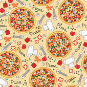 Vector pattern with hand drawn pizza and ingredients — Stock Vector