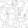 Vector seamless pattern with cartoon funny dogs in white — Vector de stock  #60058899