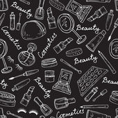 Vector pattern with attributes of cosmetics in black — Stock Vector